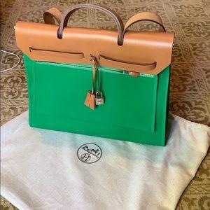 Brand new green and brown leather Hermès handbag